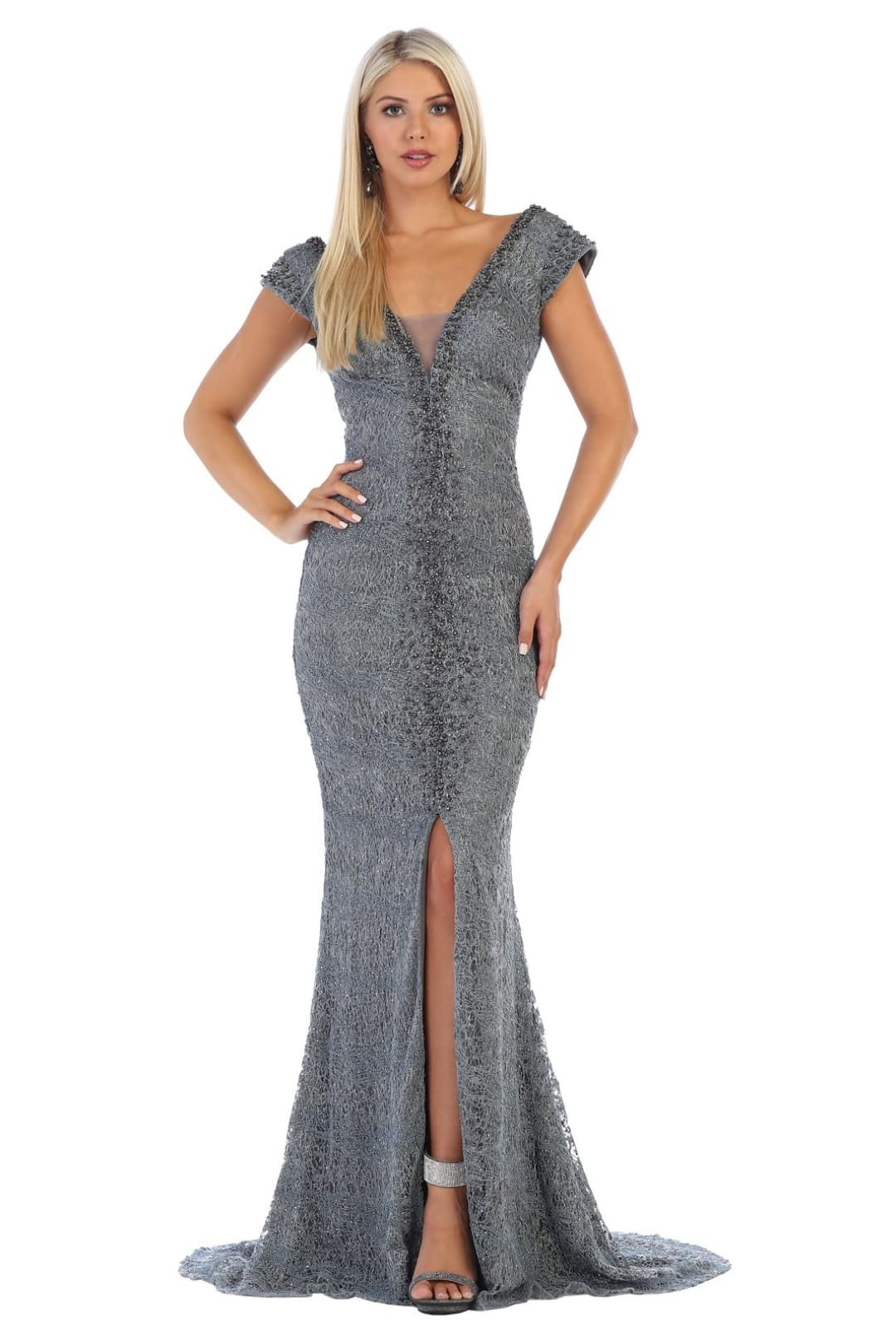 Elegant Formal Gown - Charcoal / 4