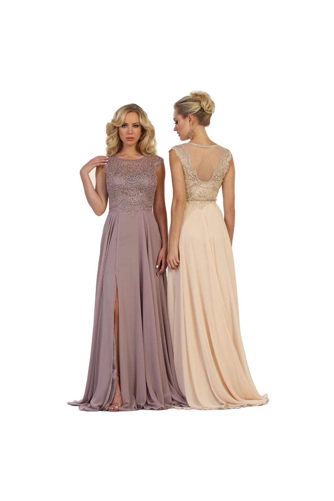 Elegant Formal Prom Gown - Champagne / 4