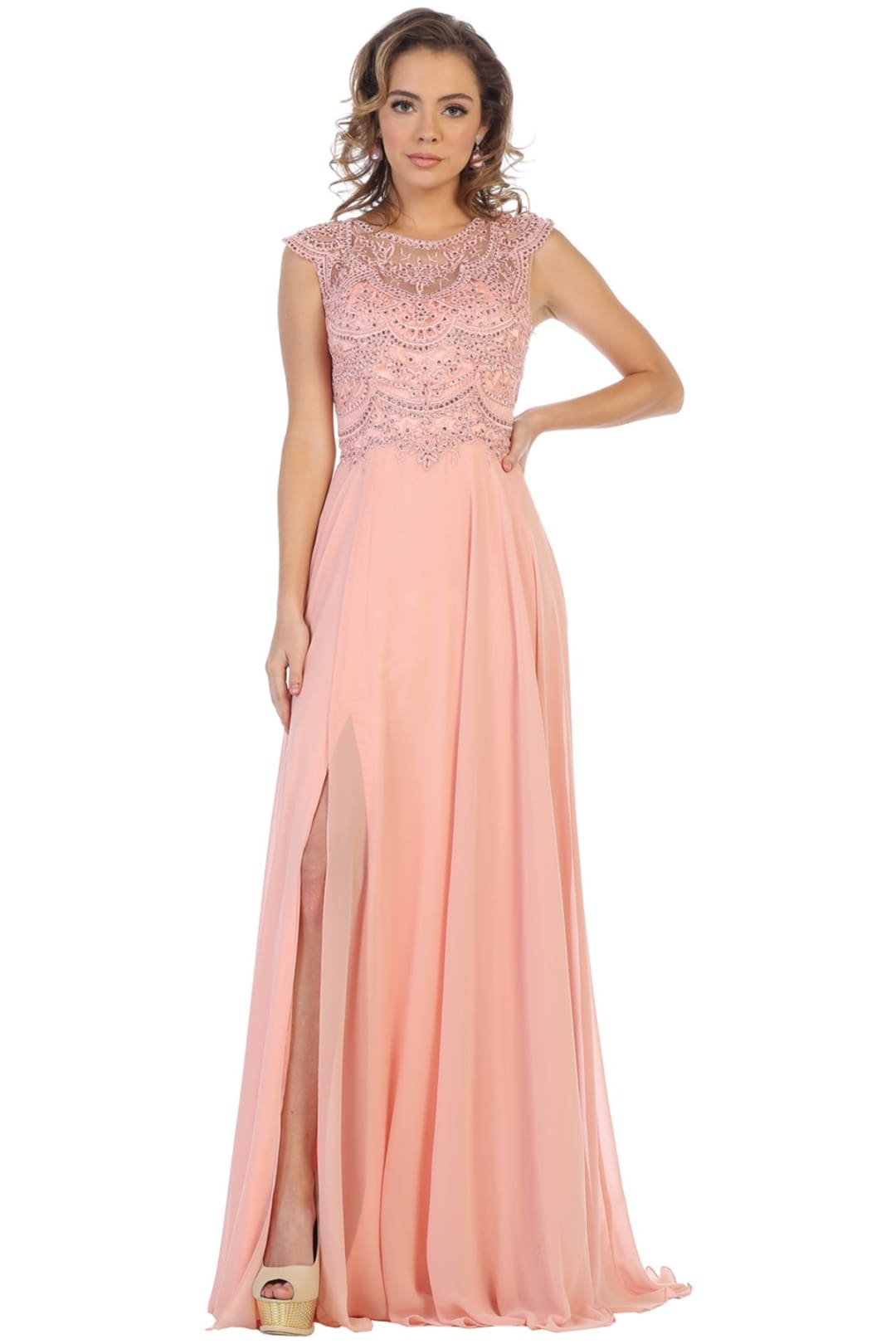 Elegant Formal Prom Gown - Dusty Rose / 4