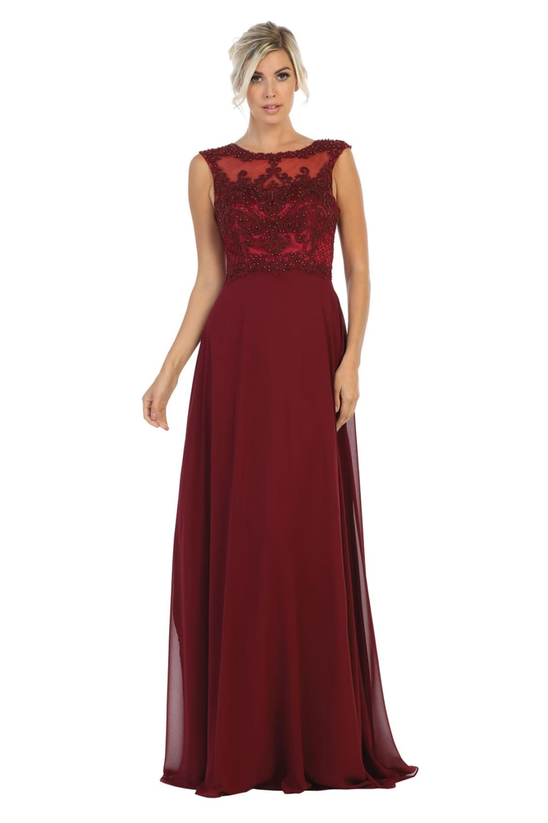 Elegant Lace Chiffon Dress - Burgundy / 4