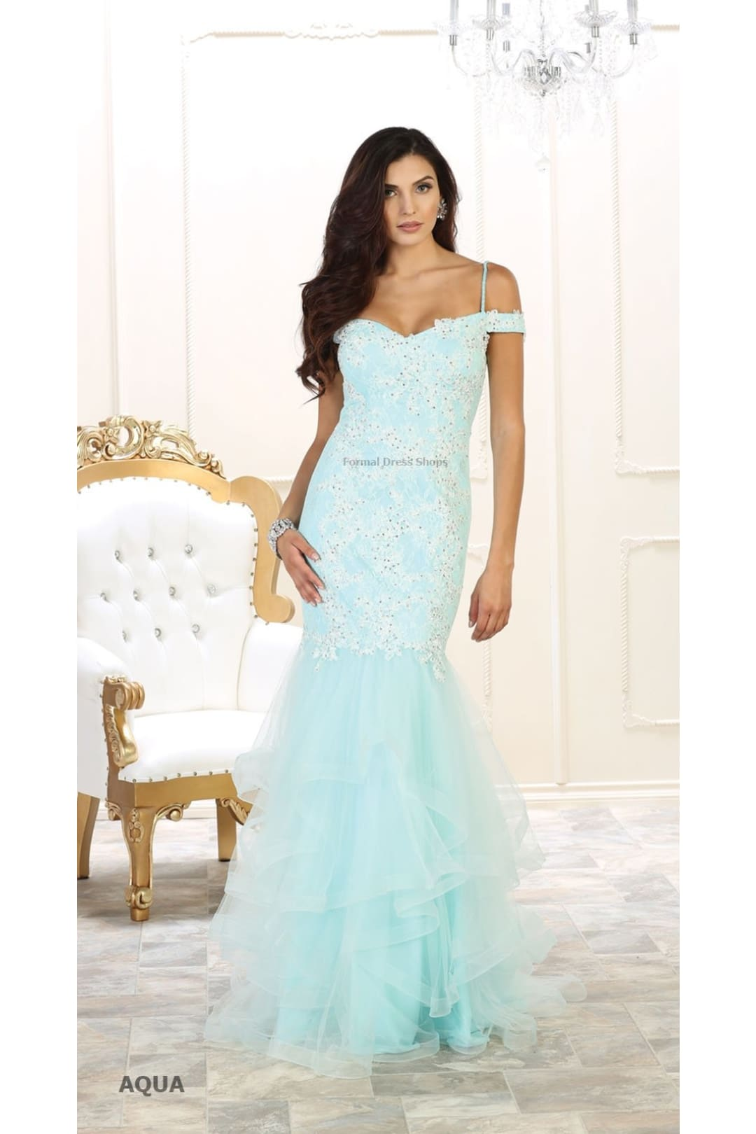 Elegant Mermaid Gown - Aqua / 8