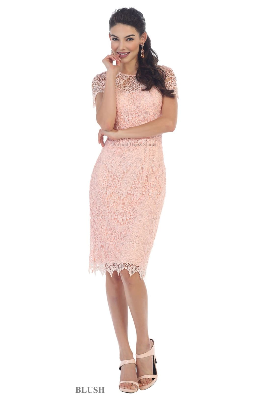 Elegant Short Mother of the Bride Dress - Blush / 2XL
