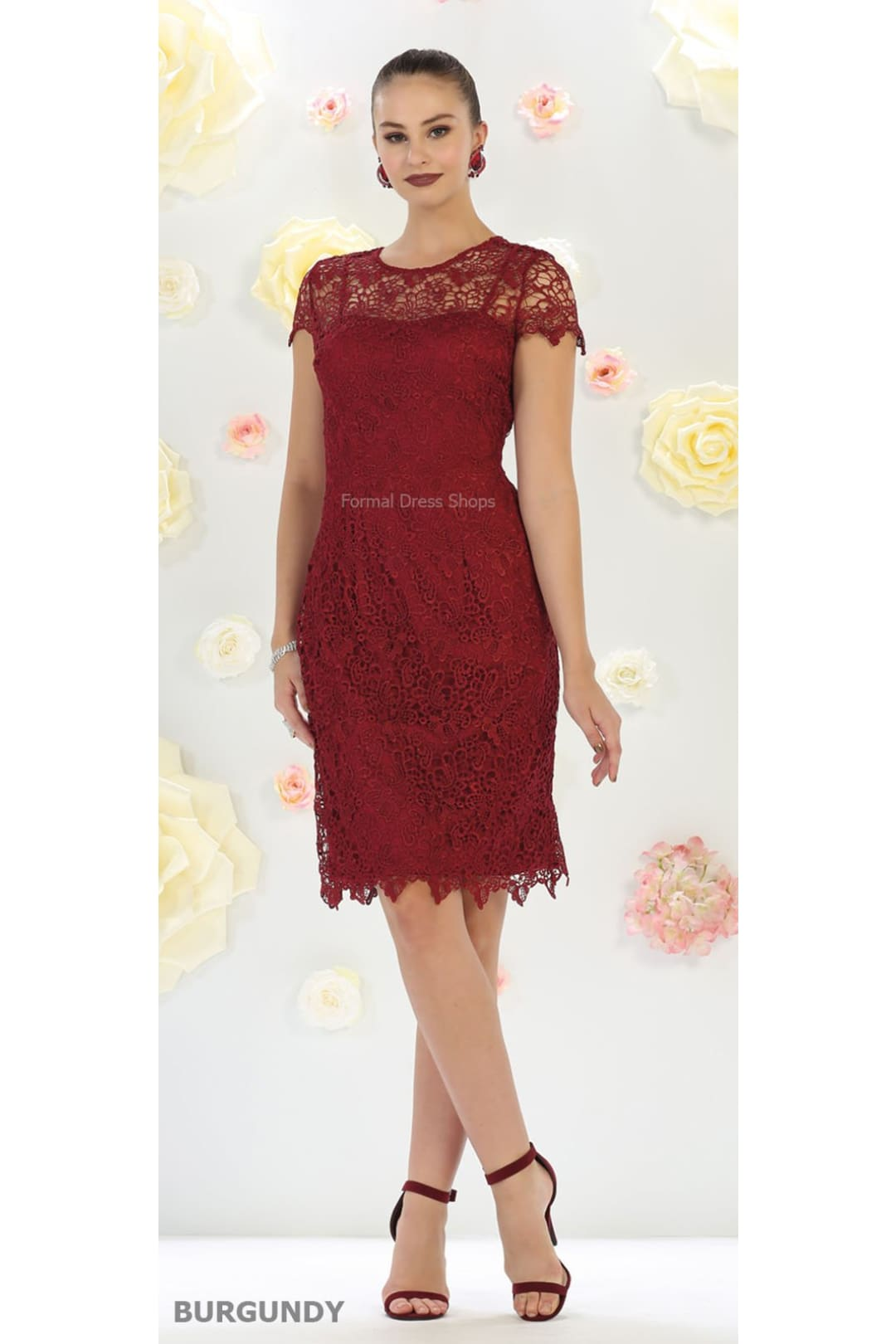 Elegant Short Mother of the Bride Dress - Burgundy / 2XL