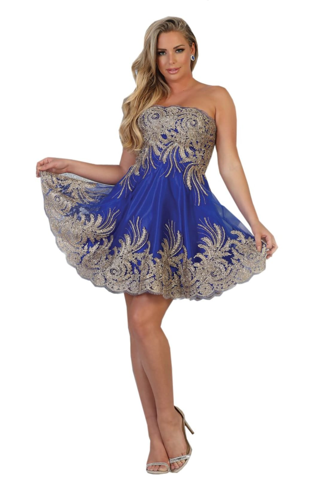 Embroidered Short Prom Dress - Royal/Gold / 2