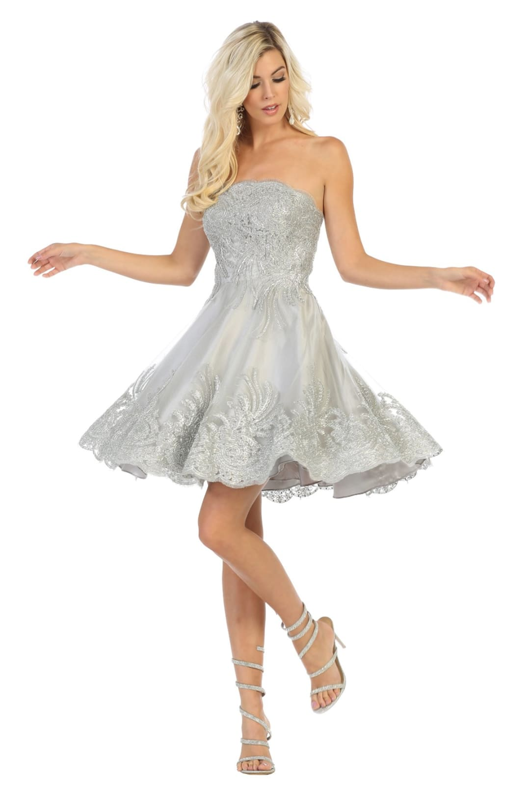 Embroidered Short Prom Dress - Silver / 2