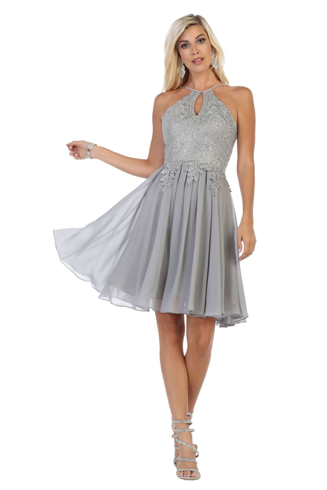 Embroidered Short Prom Dress - Silver / 4