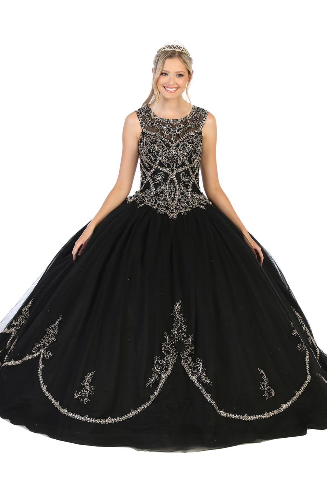 Enchanting Quinceanera Ball Gown - Black/Gold / 4