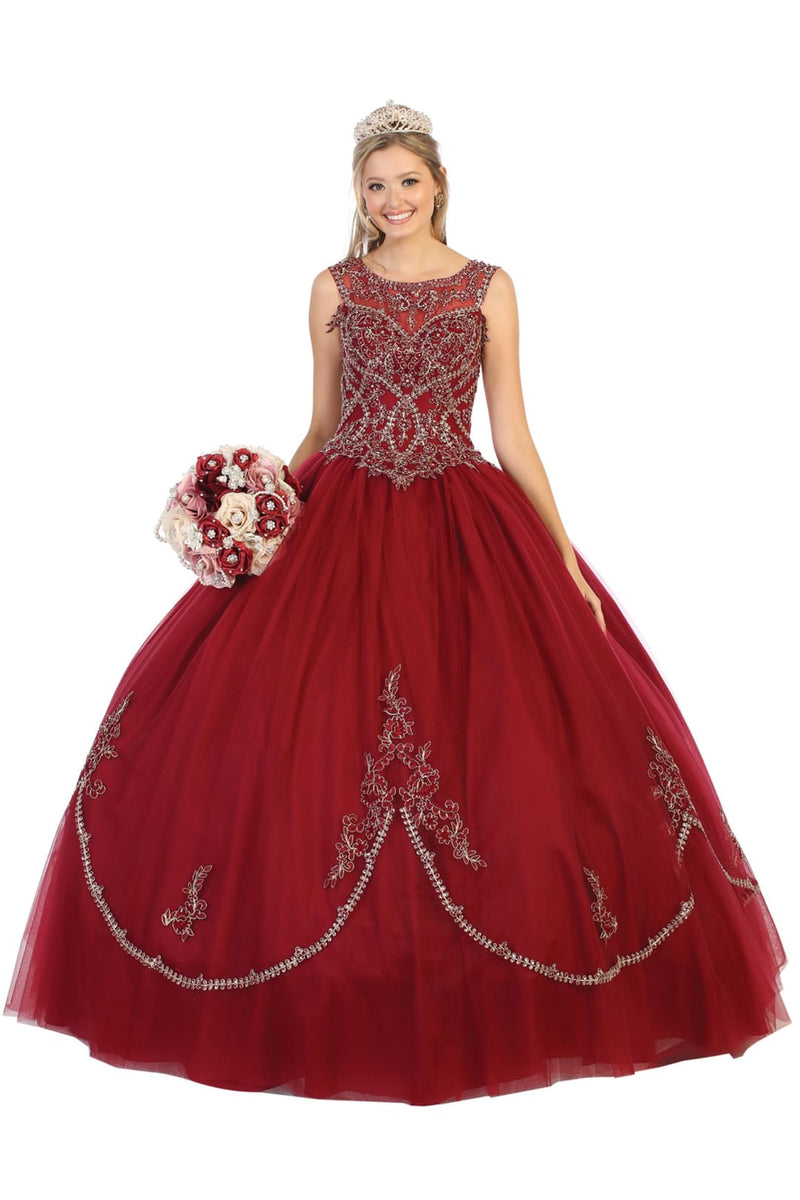 Enchanting Quinceanera Ball Gown - Burgundy/Gold / 4