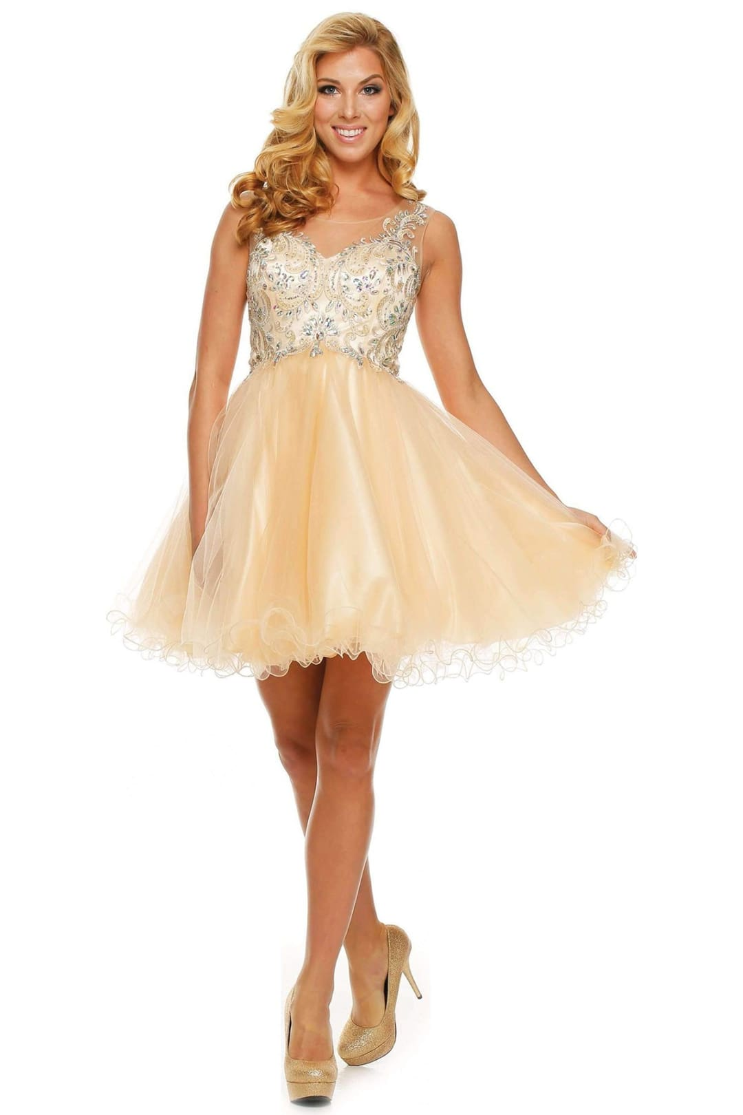 Enchanting Short Homecoming Dress - Light Gold / XS