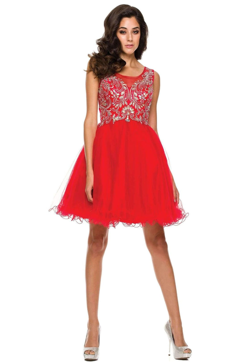 Enchanting Short Homecoming Dress - Red / XS