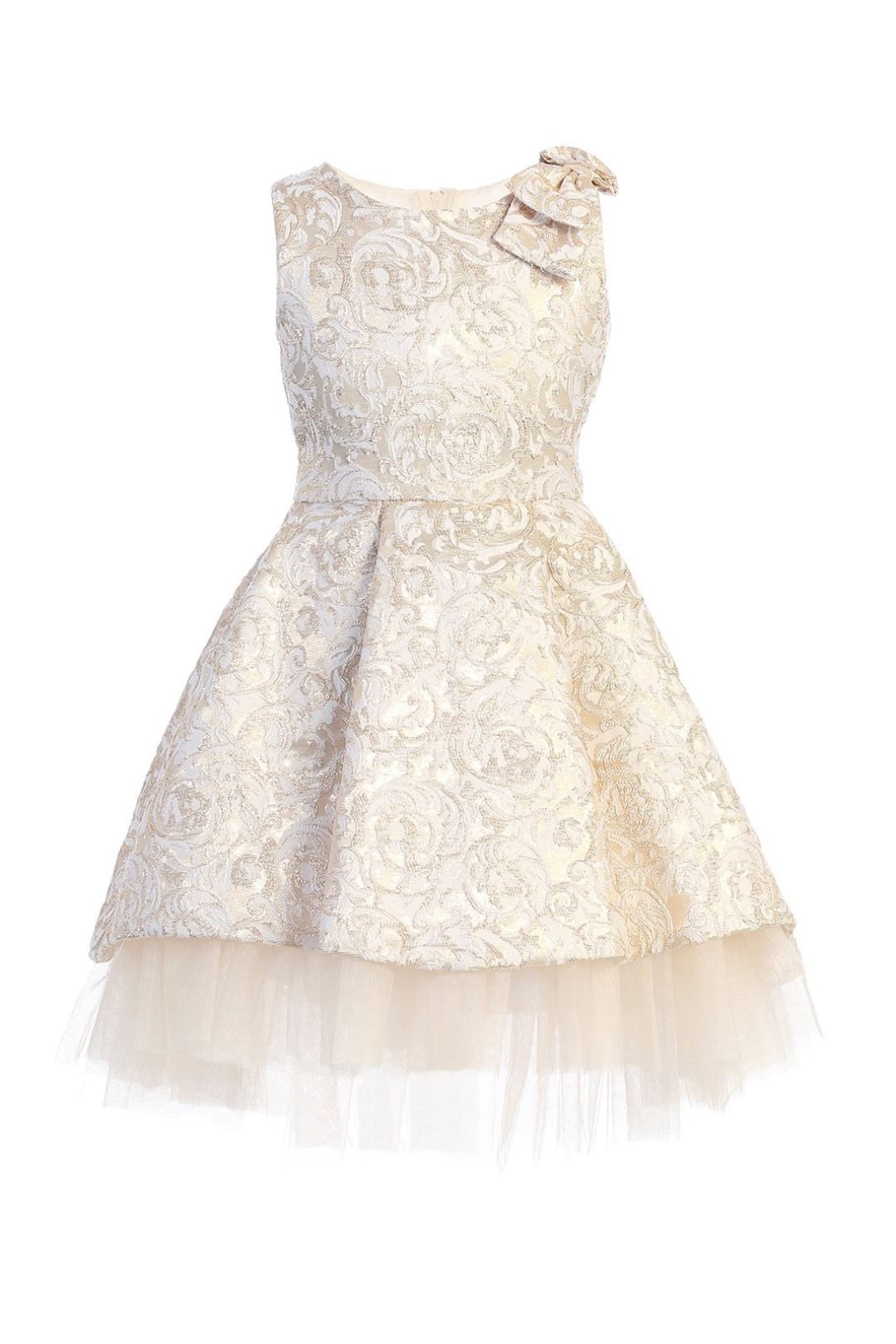 Fancy Hi Low Girls Dress - ivory / 2