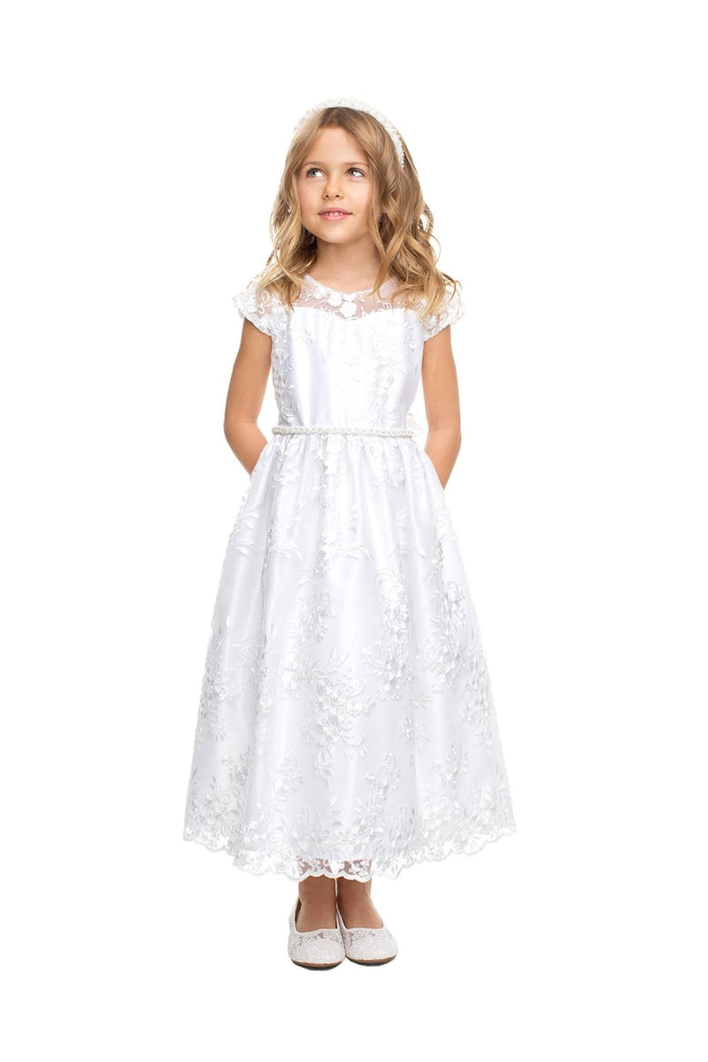 First Communion Embroidered Dresses - LAK838 - WHITE / S
