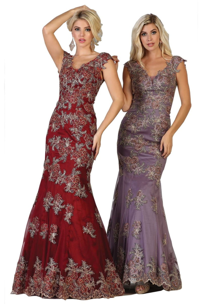 Fitted Corset Prom Gown - Burgundy / 4