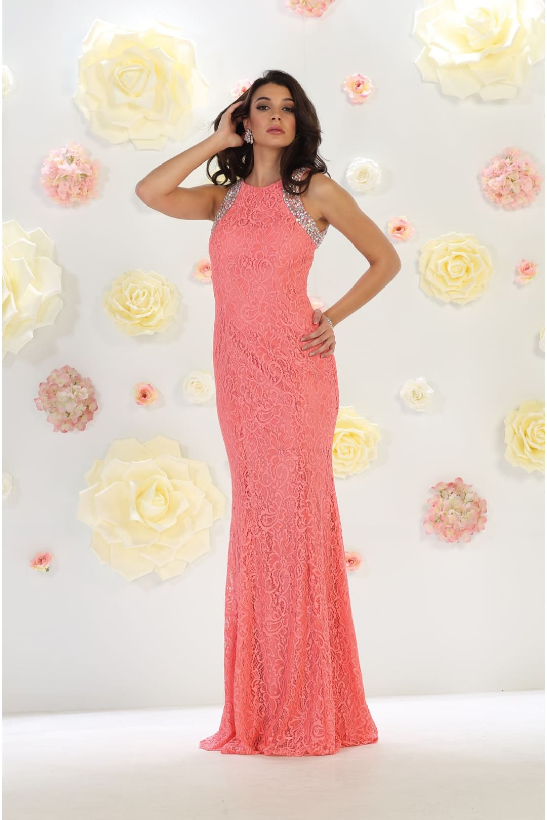 Fitted Formal Gown - Coral / 4