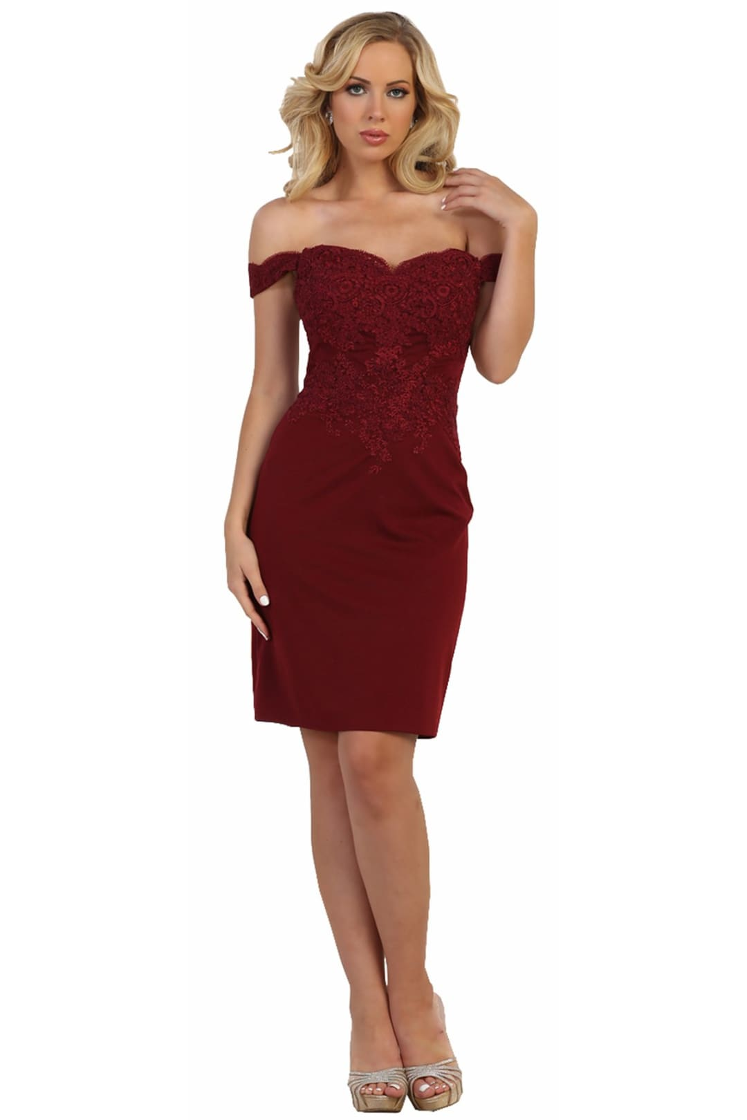 Fitted Short Semi Formal Dress - Burgundy / 12