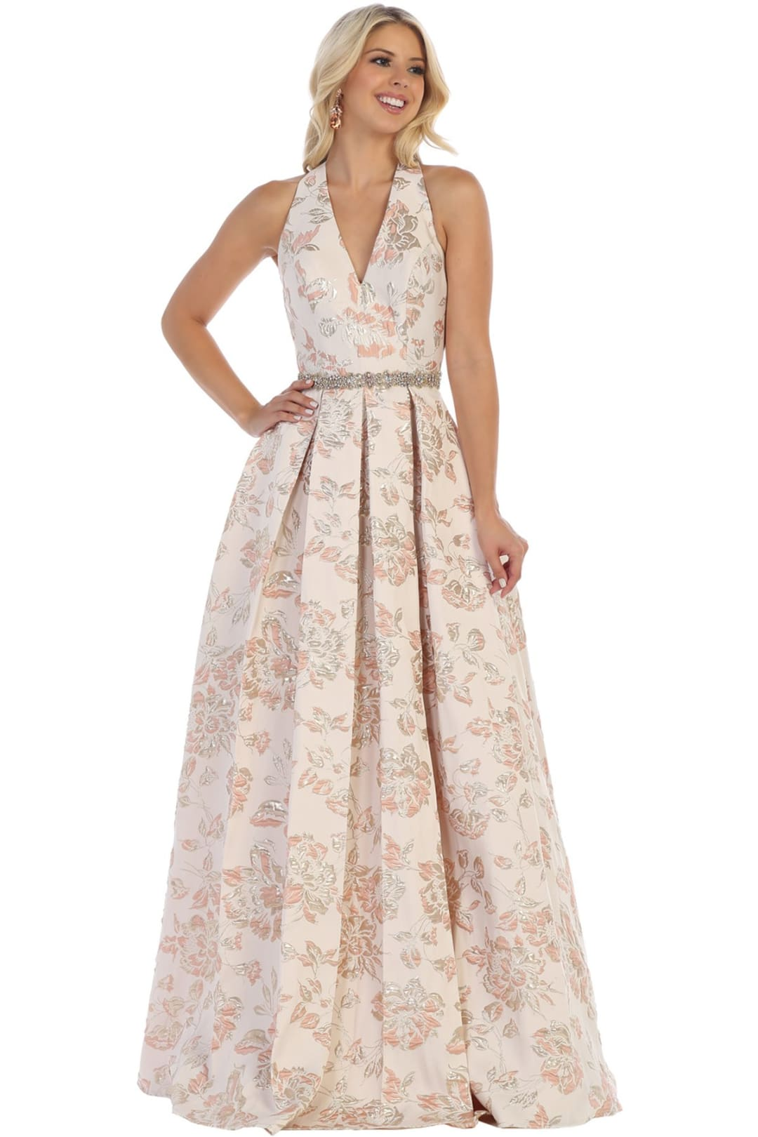 Floral V-Neck Prom Dress - Dusty Rose / 2