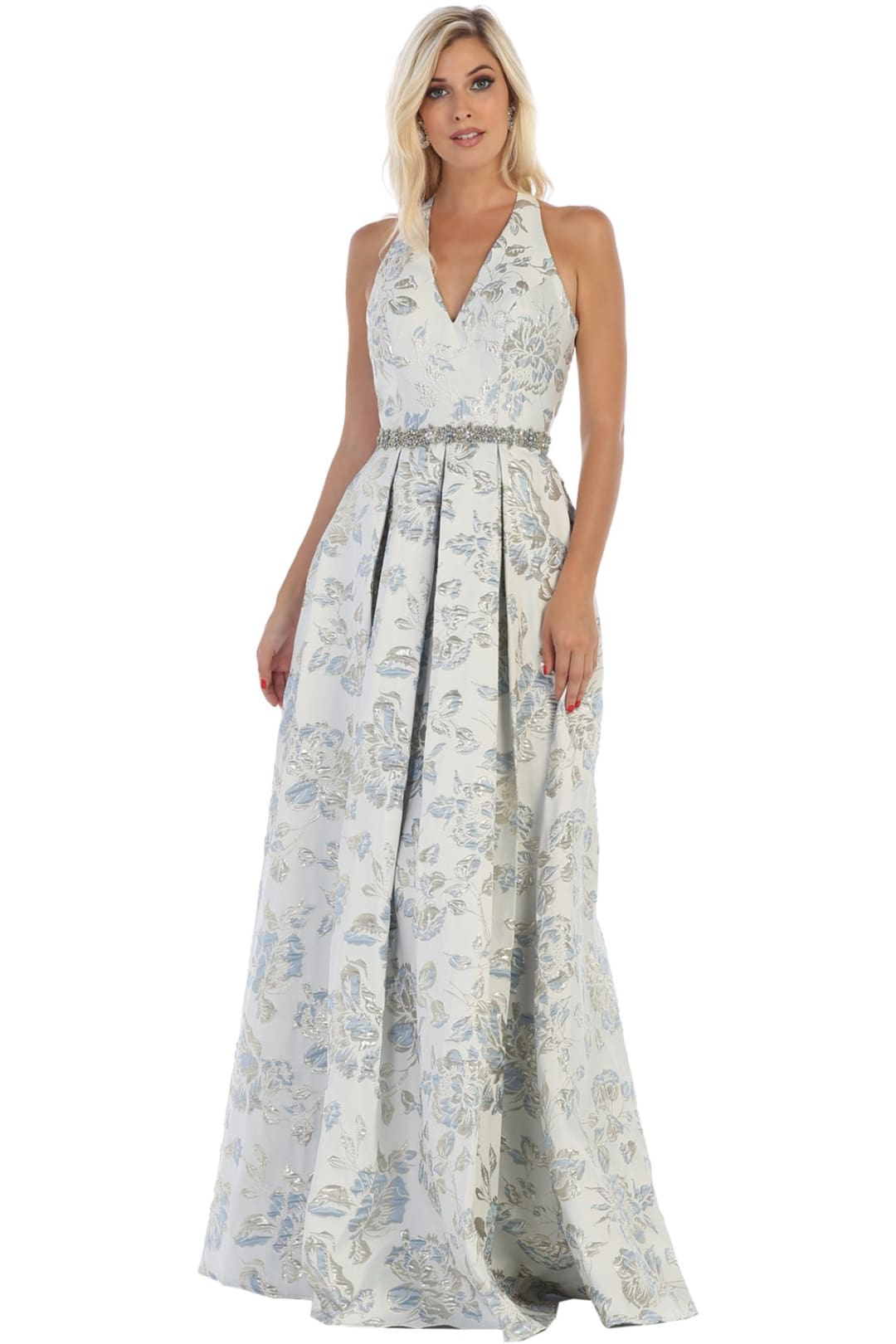 Floral V-Neck Prom Dress - Periwinkle / 2