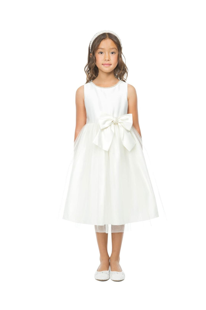 Flower Girl Beautiful Satin Dresses - WHITE / S