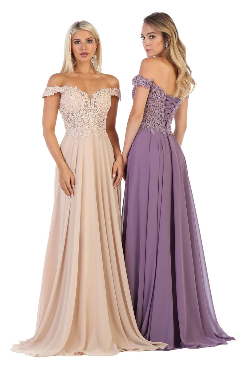 Flowy Prom Gown - Champagne / 4