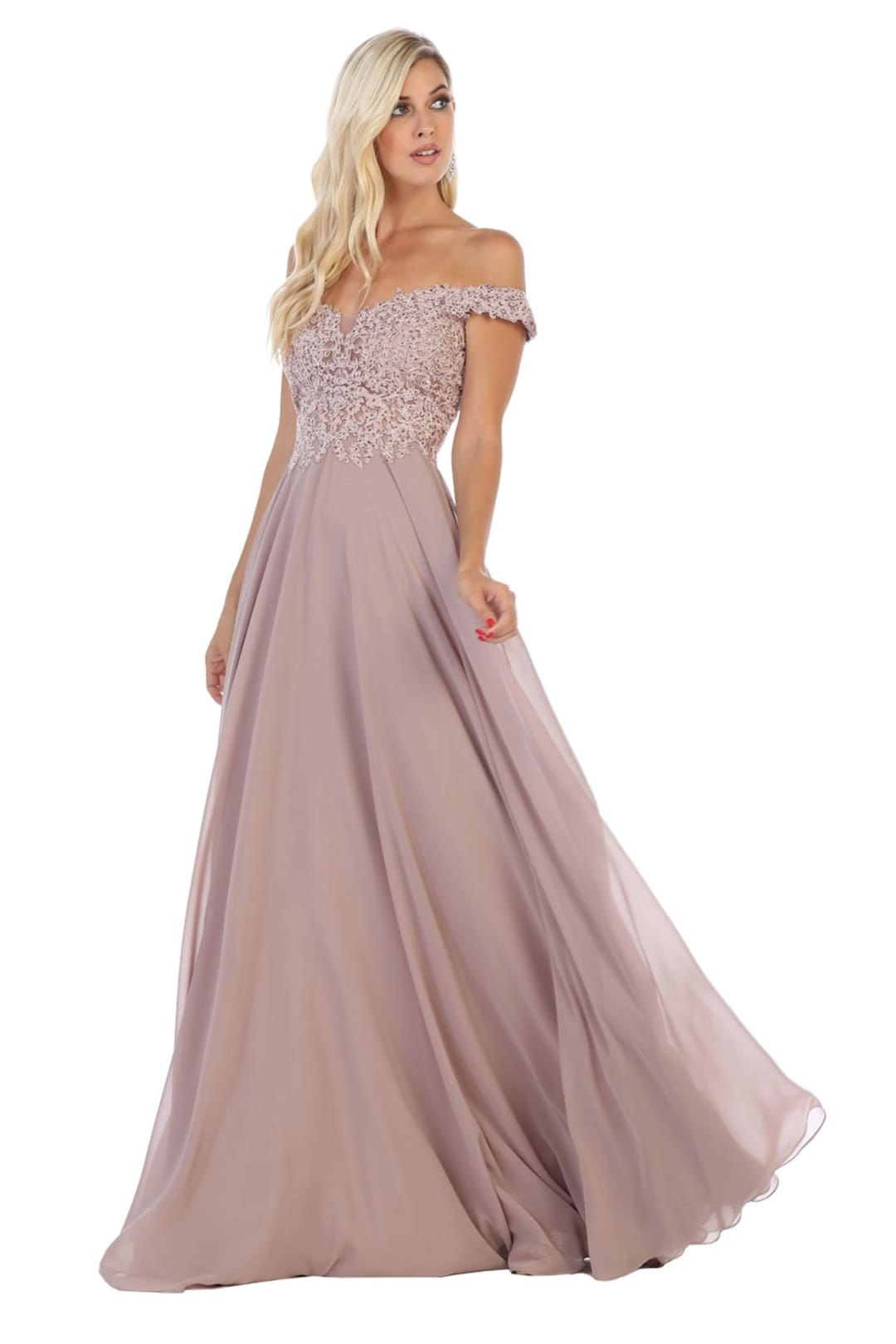Flowy Prom Gown - Mauve / 4