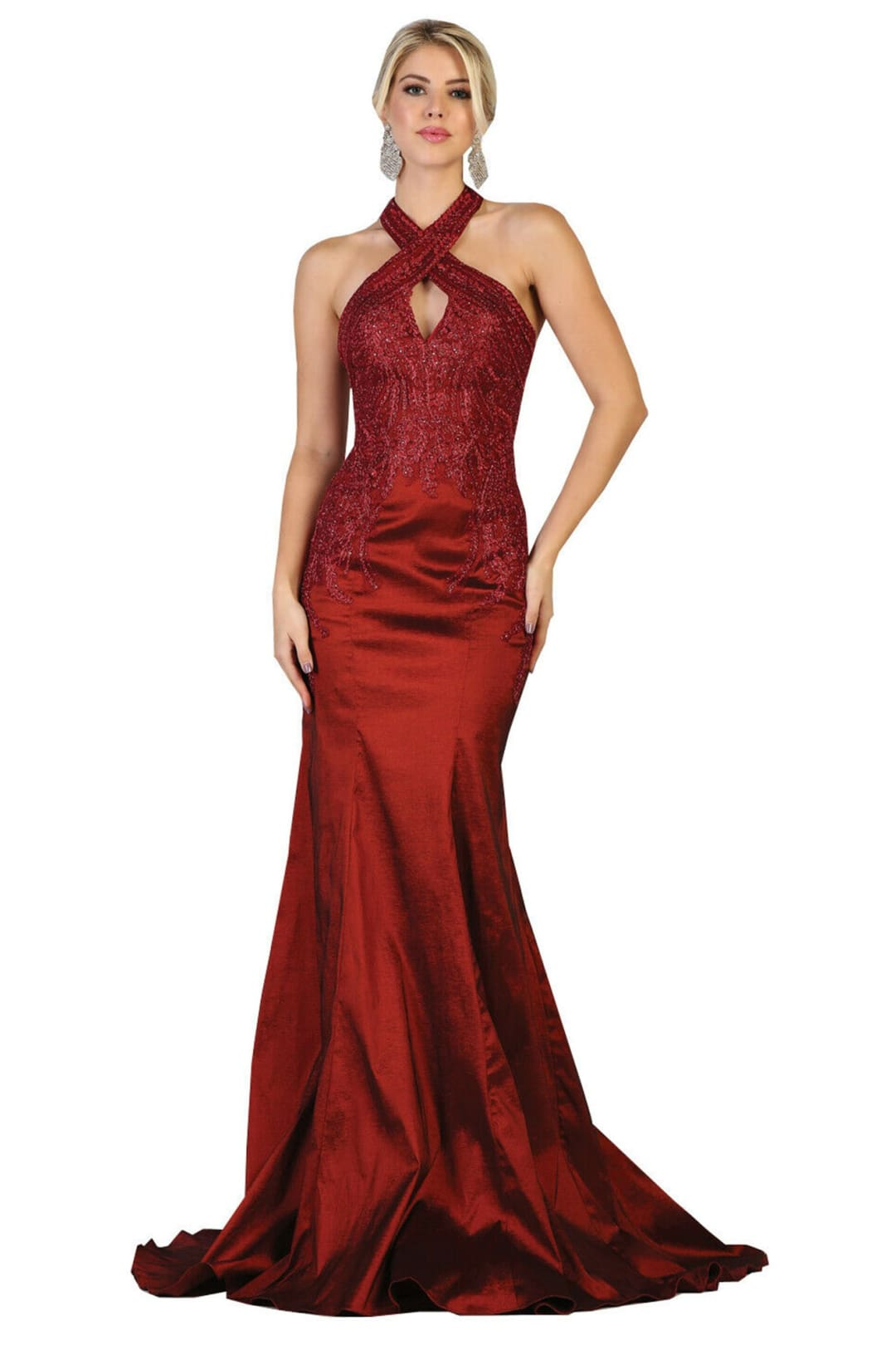Halter Mermaid Gown - Burgundy / 4