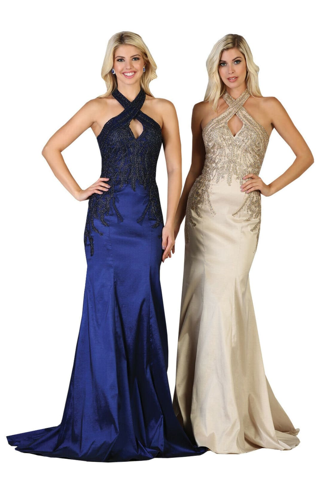 Halter Mermaid Gown - Champagne / 4