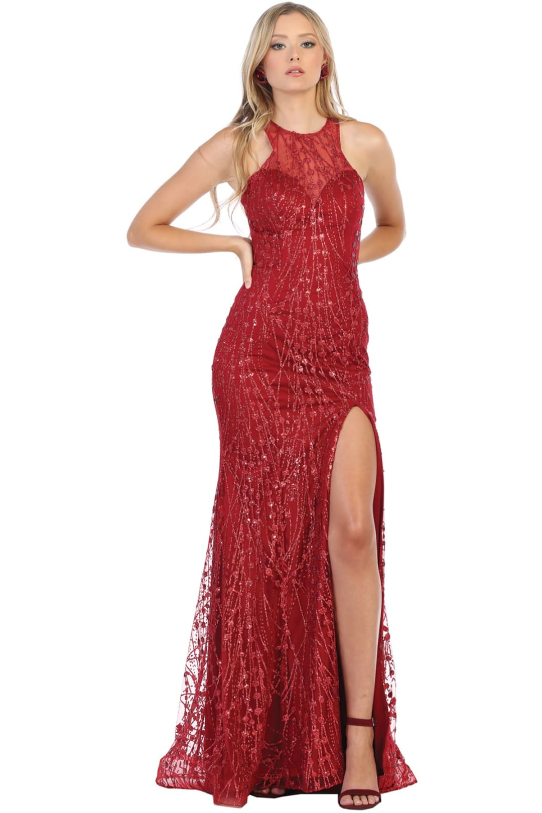 Halter Homecoming Dress - Burgundy / 2