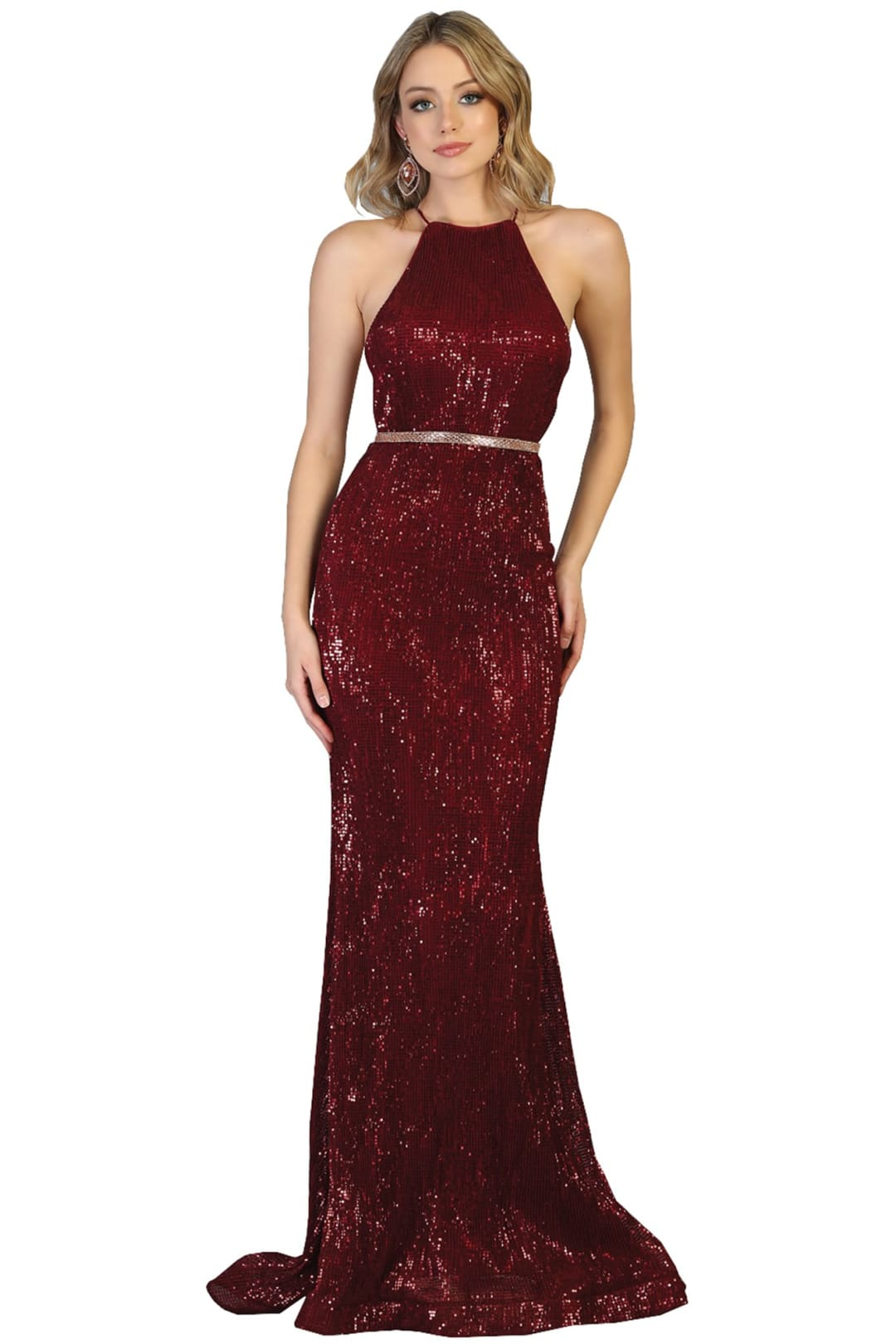 Halter Prom Dresses Long - BURGUNDY / 2