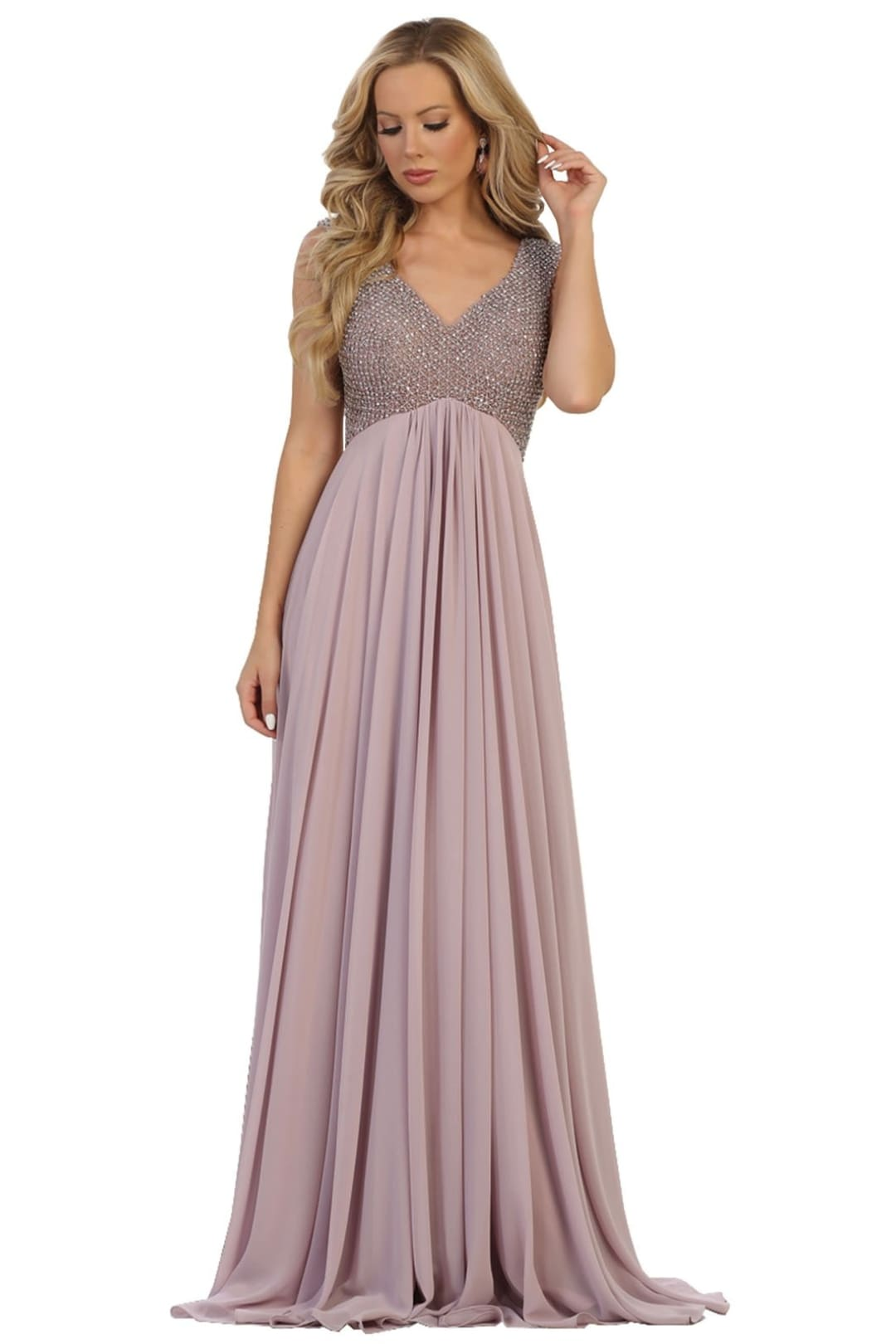 Jewel Adorned Prom Dress - Mauve / 4