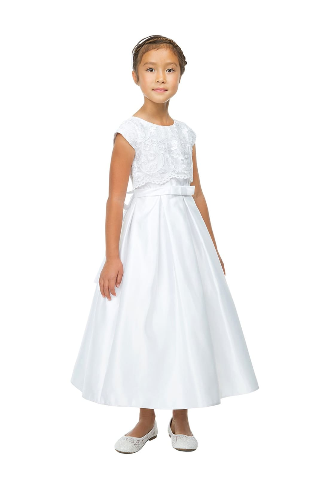 Lace and Satin Flower Girl Dress with Pockets - LAK785 - 6