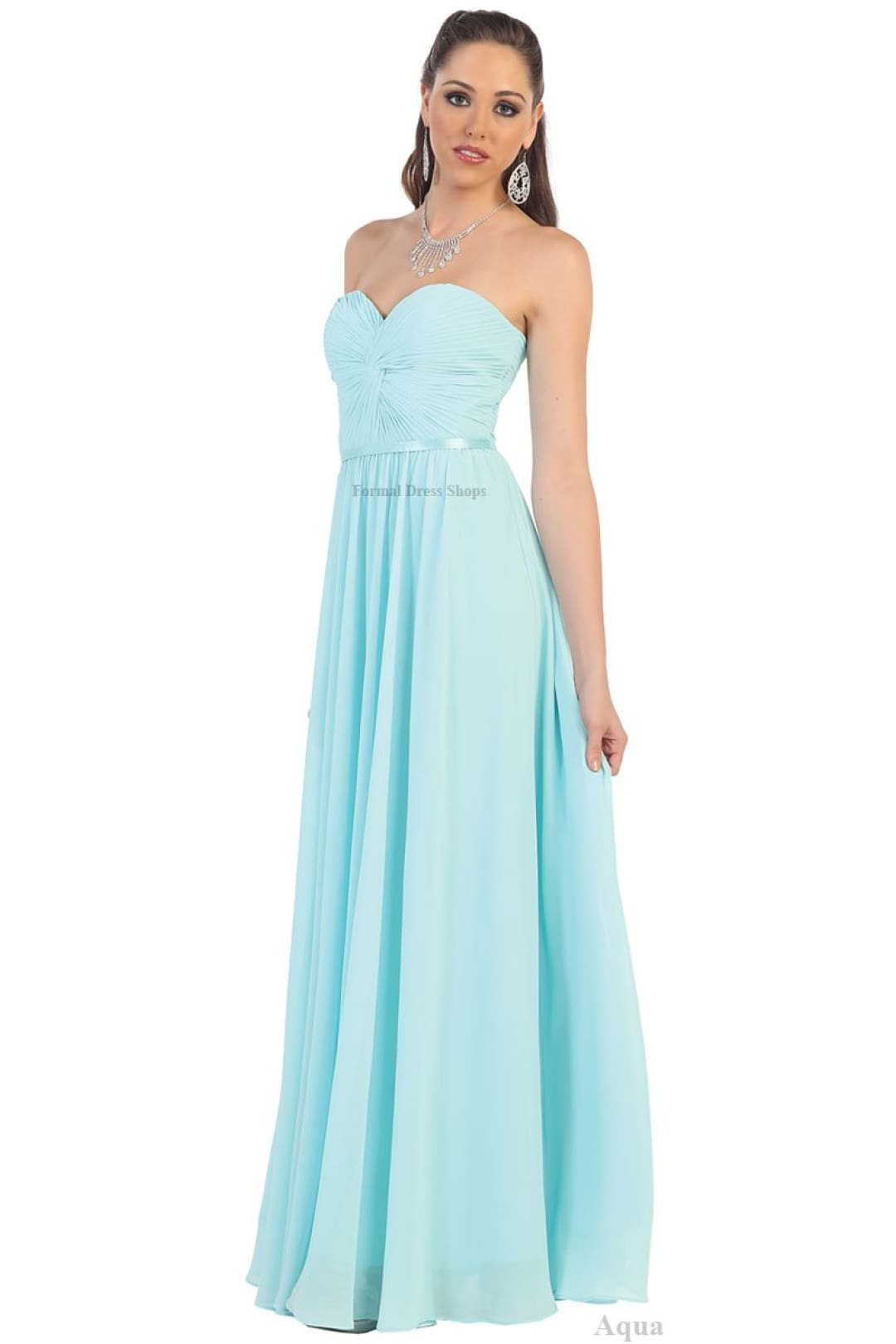 Lace up Back Bridesmaids Dress - Aqua / 6