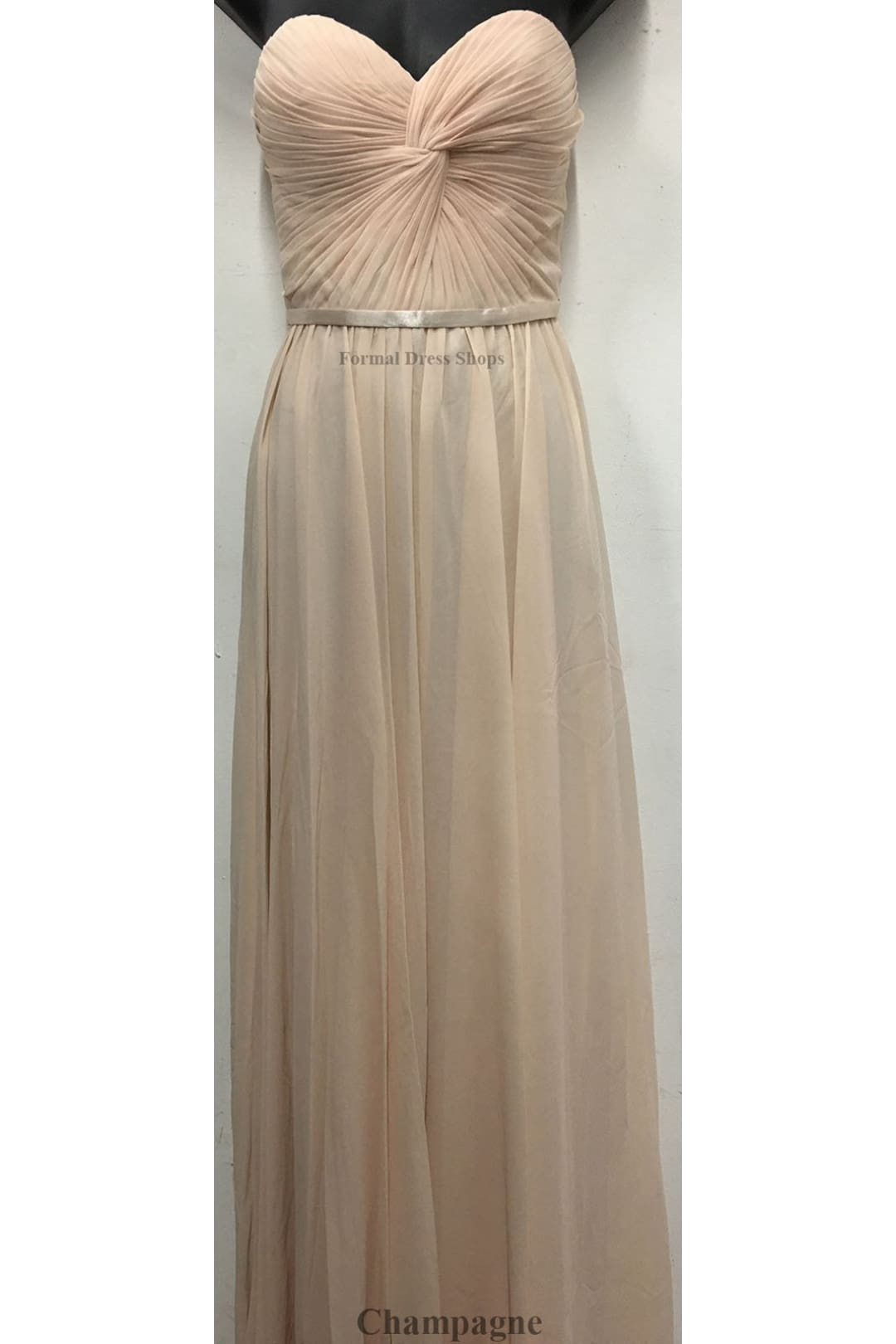 Lace up Back Bridesmaids Dress - Champagne / 6