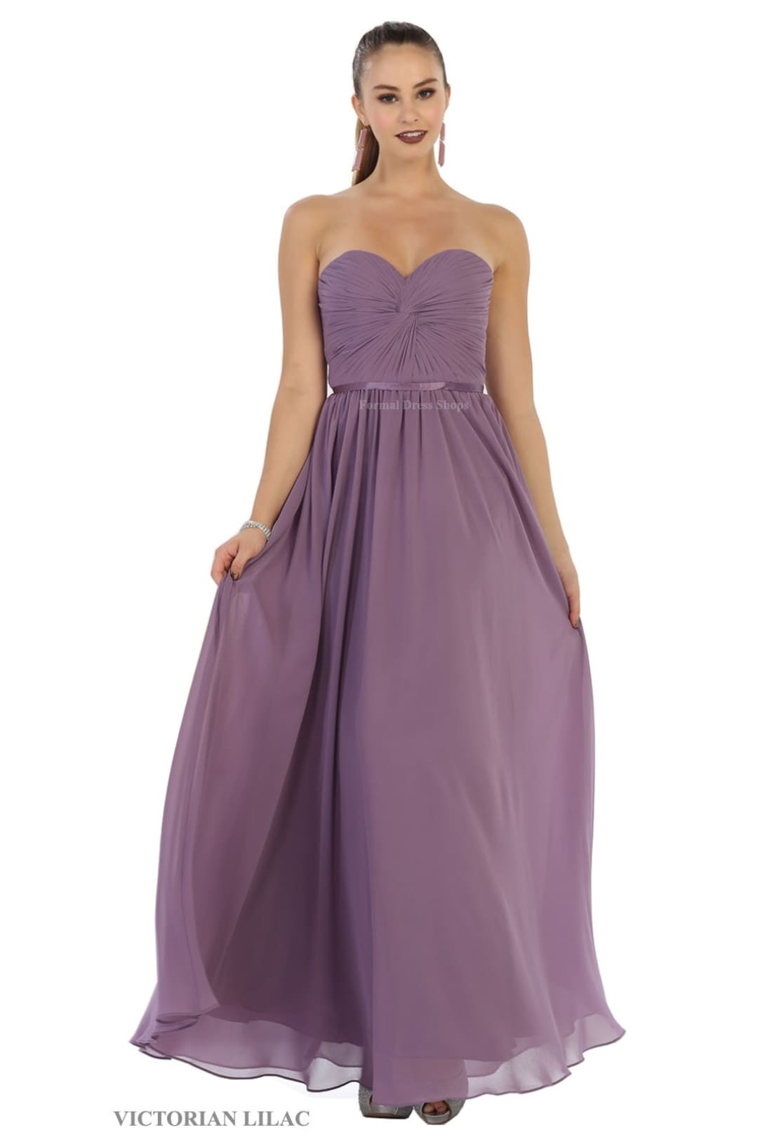 Lace up Back Bridesmaids Dress - Lilac / 18