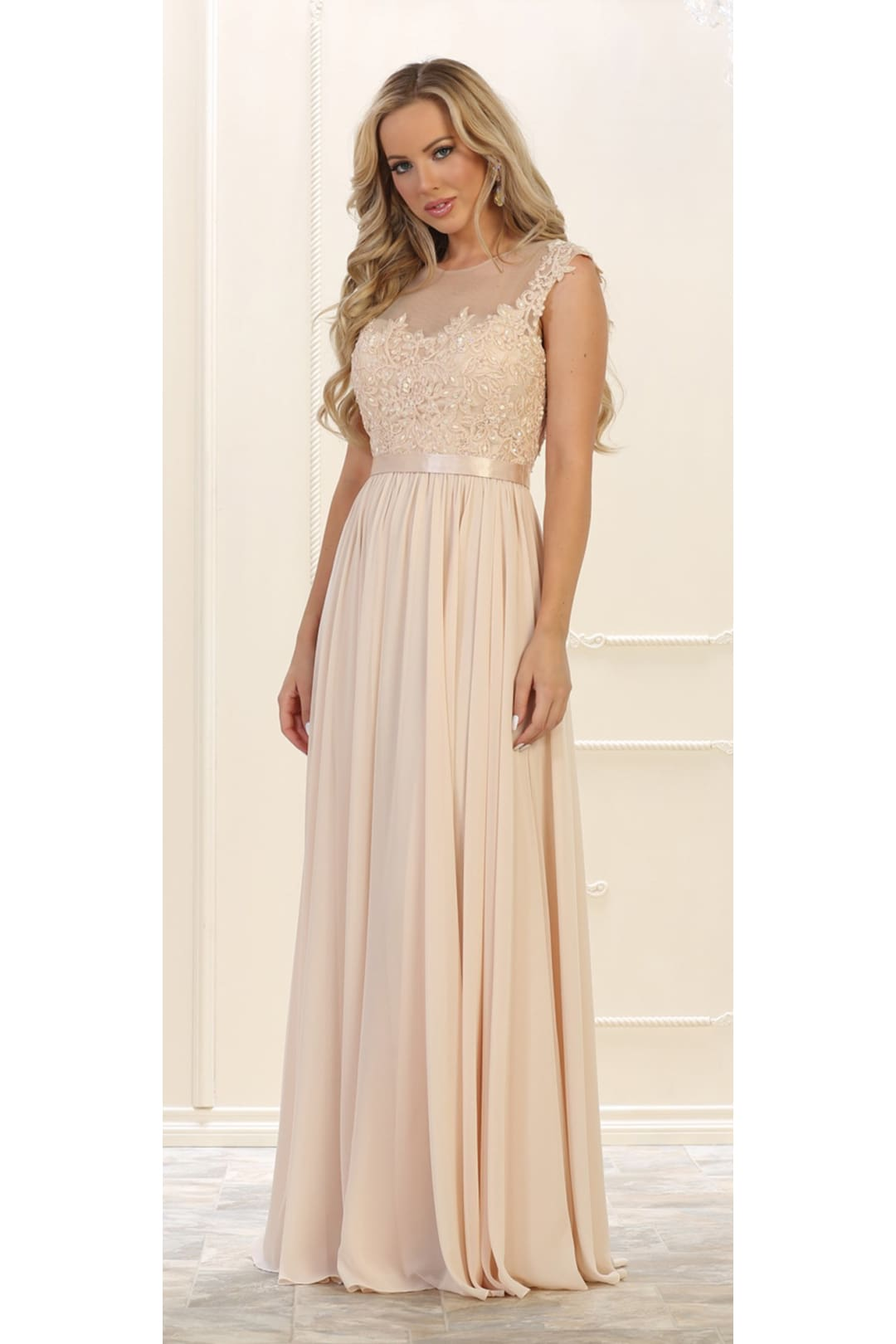 Long Bridesmaid Evening Gown And Plus Size - CHAMPAGNE / 4