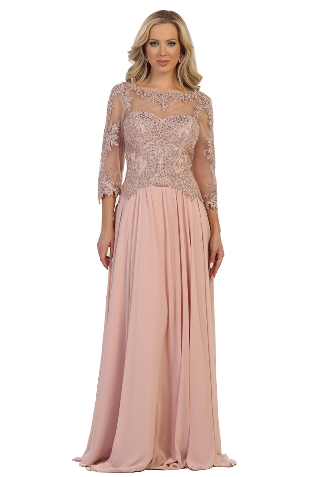 Long Mother of Bride Dress - Dusty Rose / XL