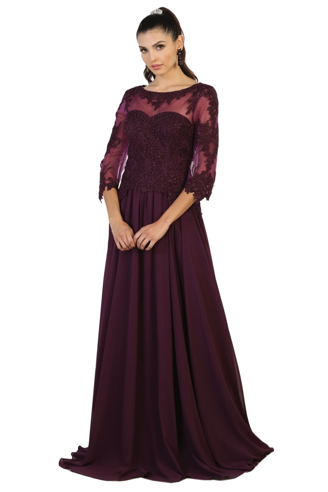 Long Mother of Bride Dress - Eggplant / M
