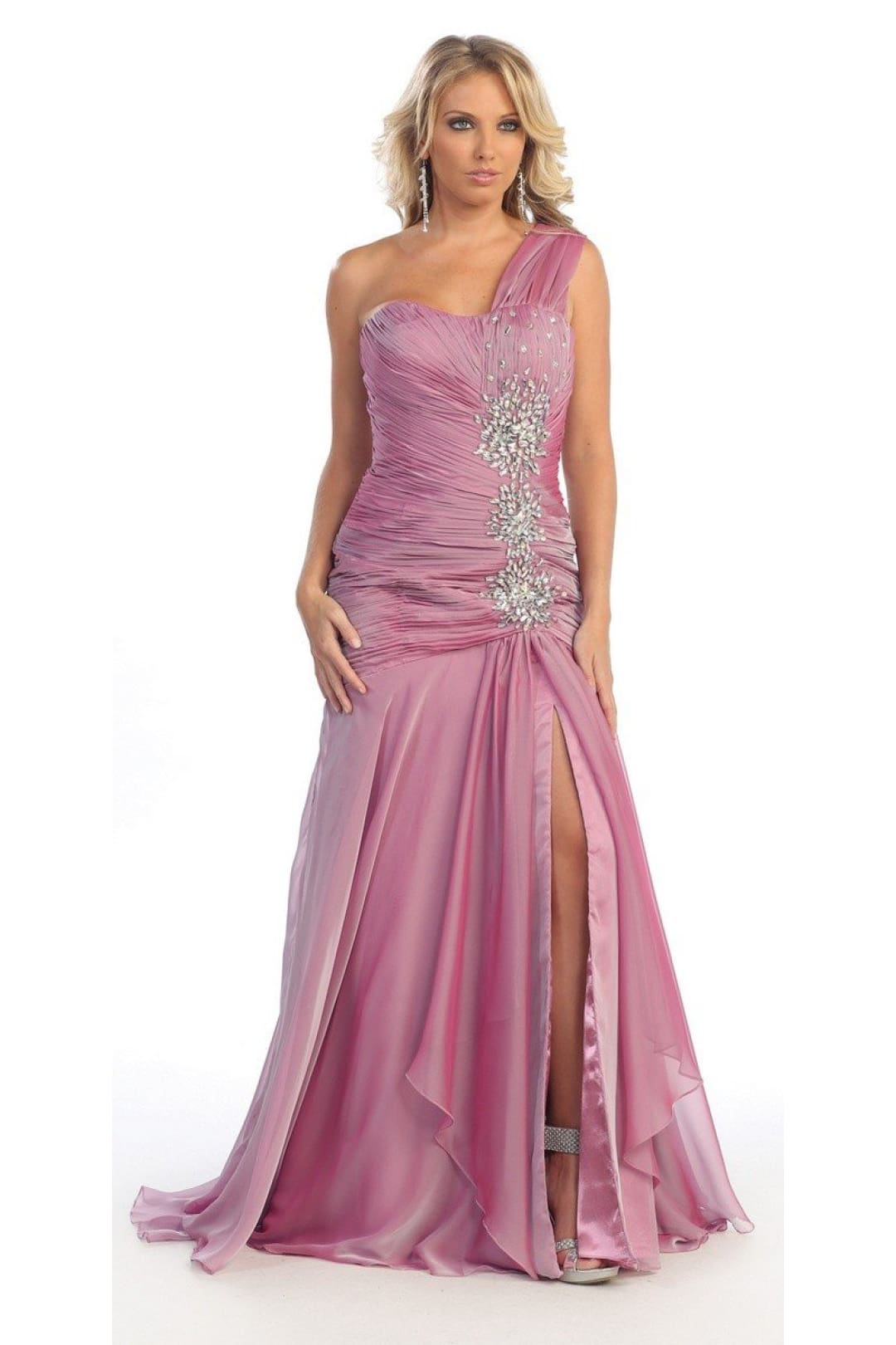Long one Shoulder Gown - Lavender Rose / 6