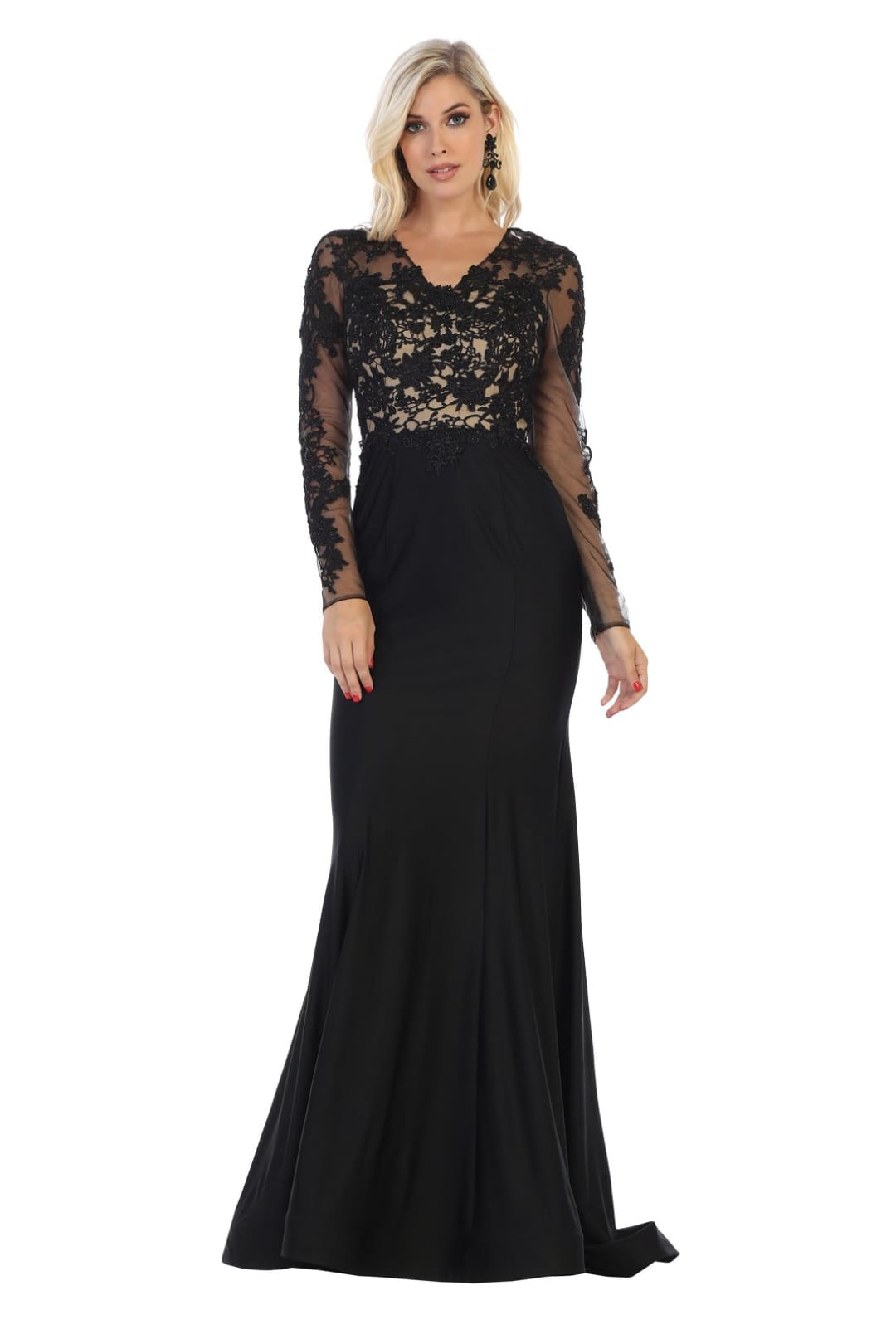 Long Sleeve Pageant Gown - Black / 4