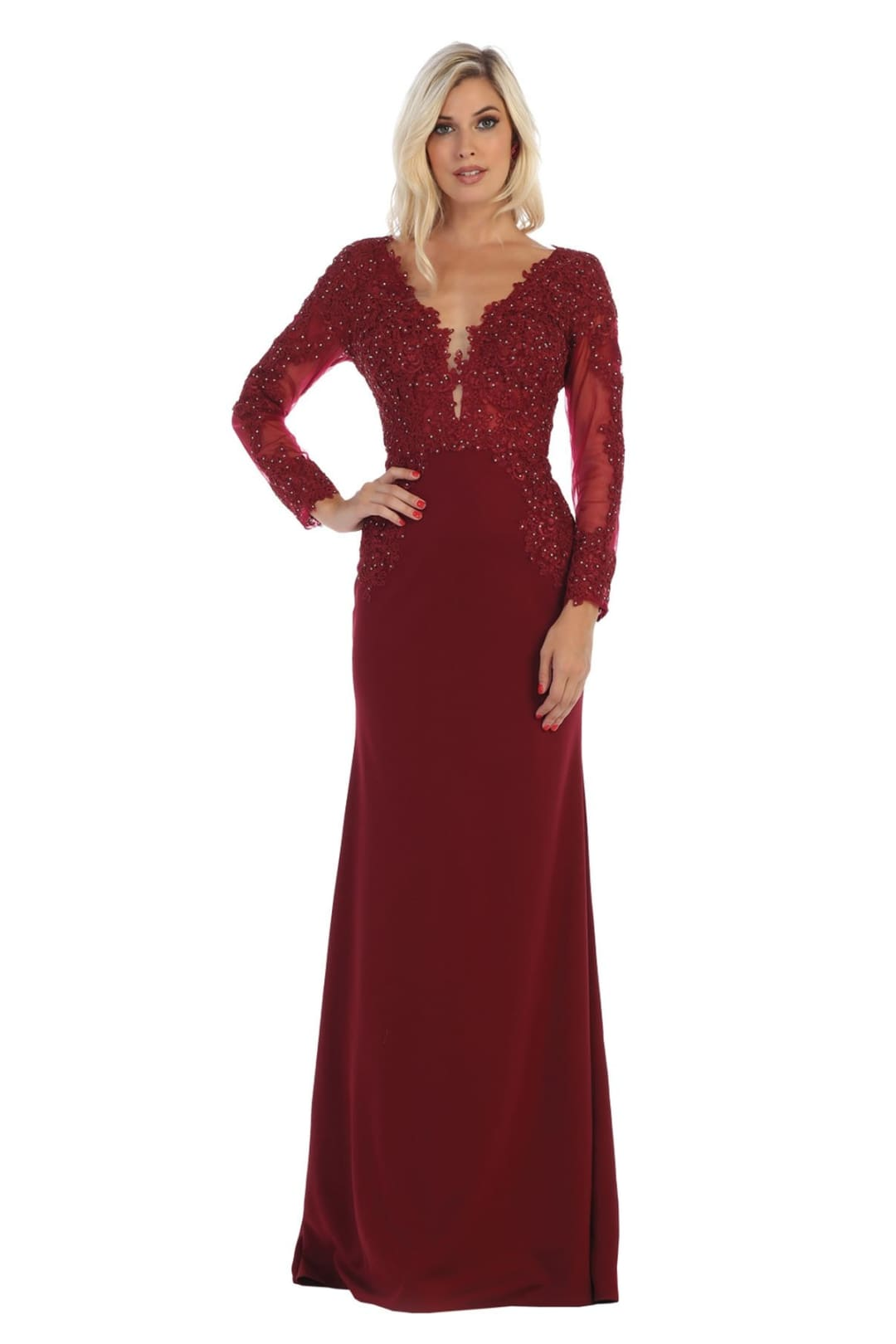 Long Sleeve V-Neck Dress - Burgundy / 6