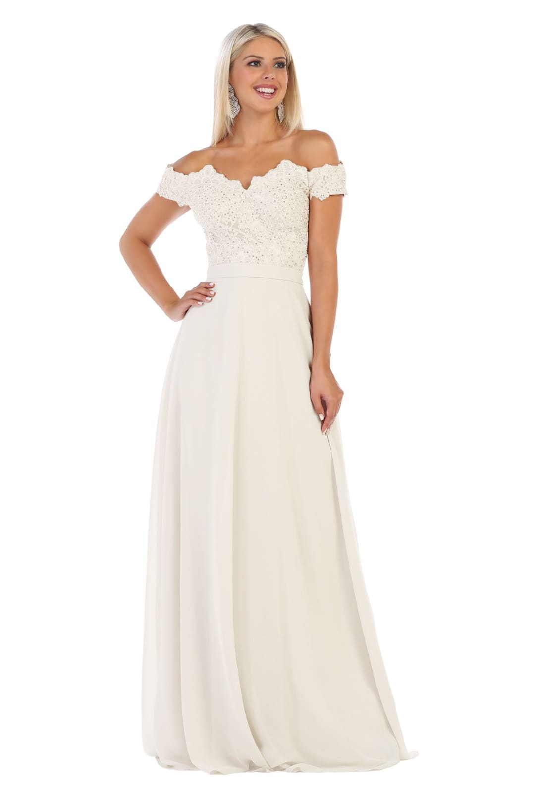 Long Wedding Ivory Gown - Ivory / 4