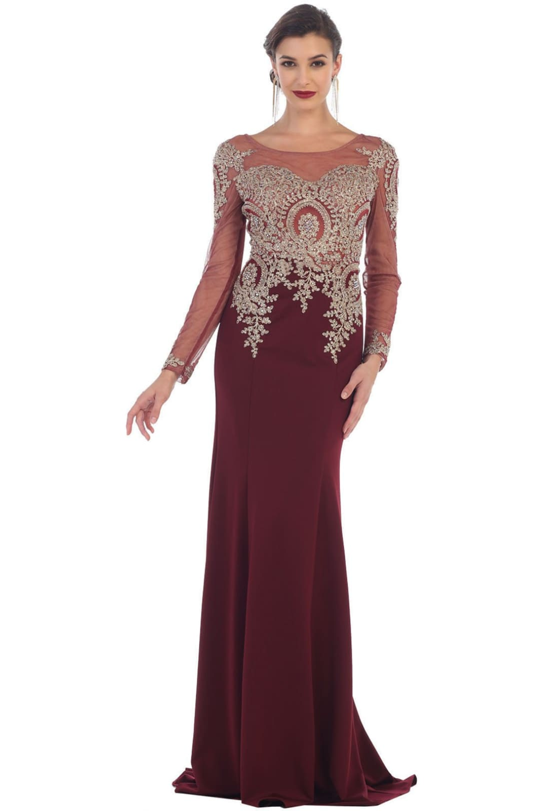 Magnificent Evening Dress for all Ages - Burgundy / 12