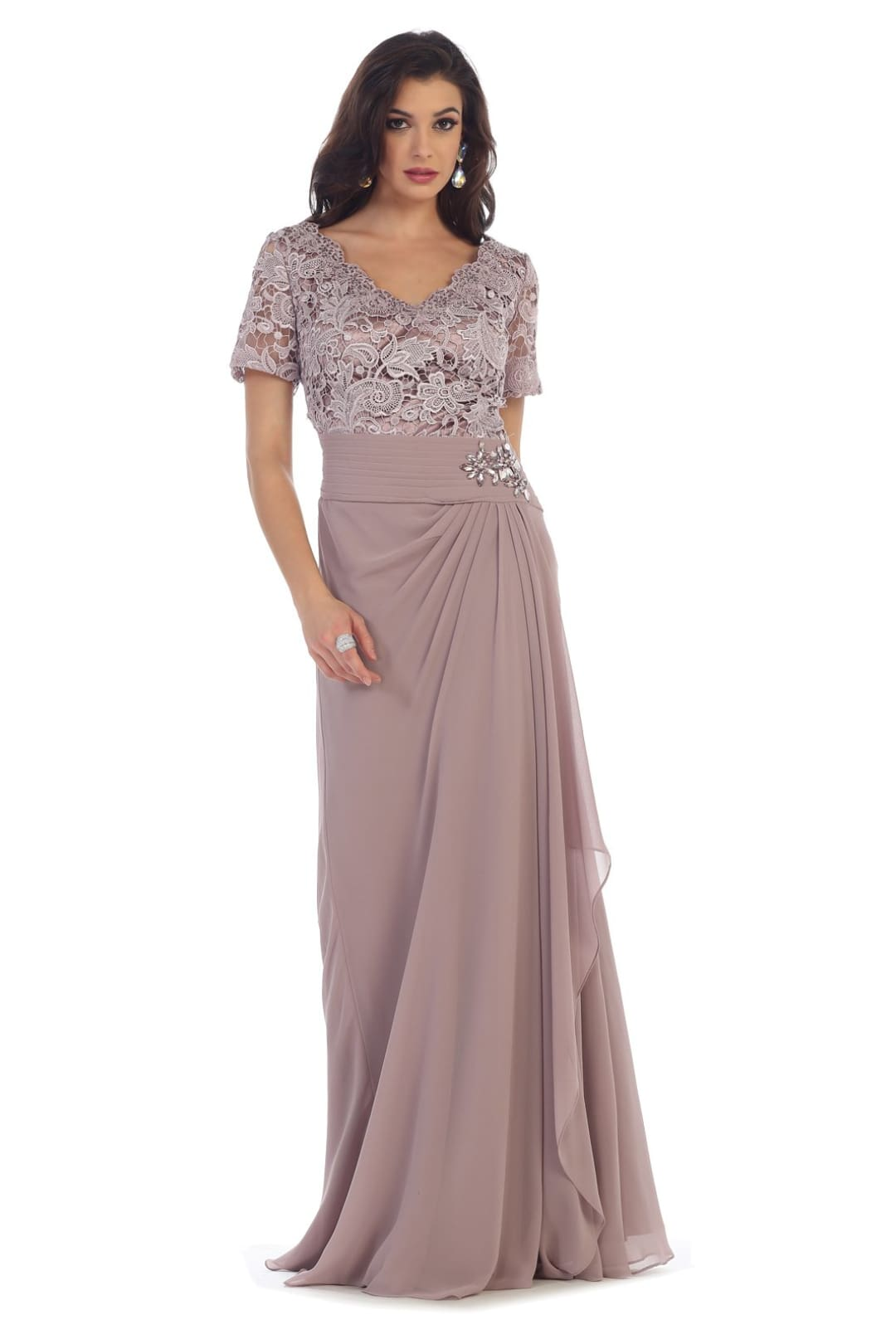 Magnificent Short Sleeve Gown - Mauve / M