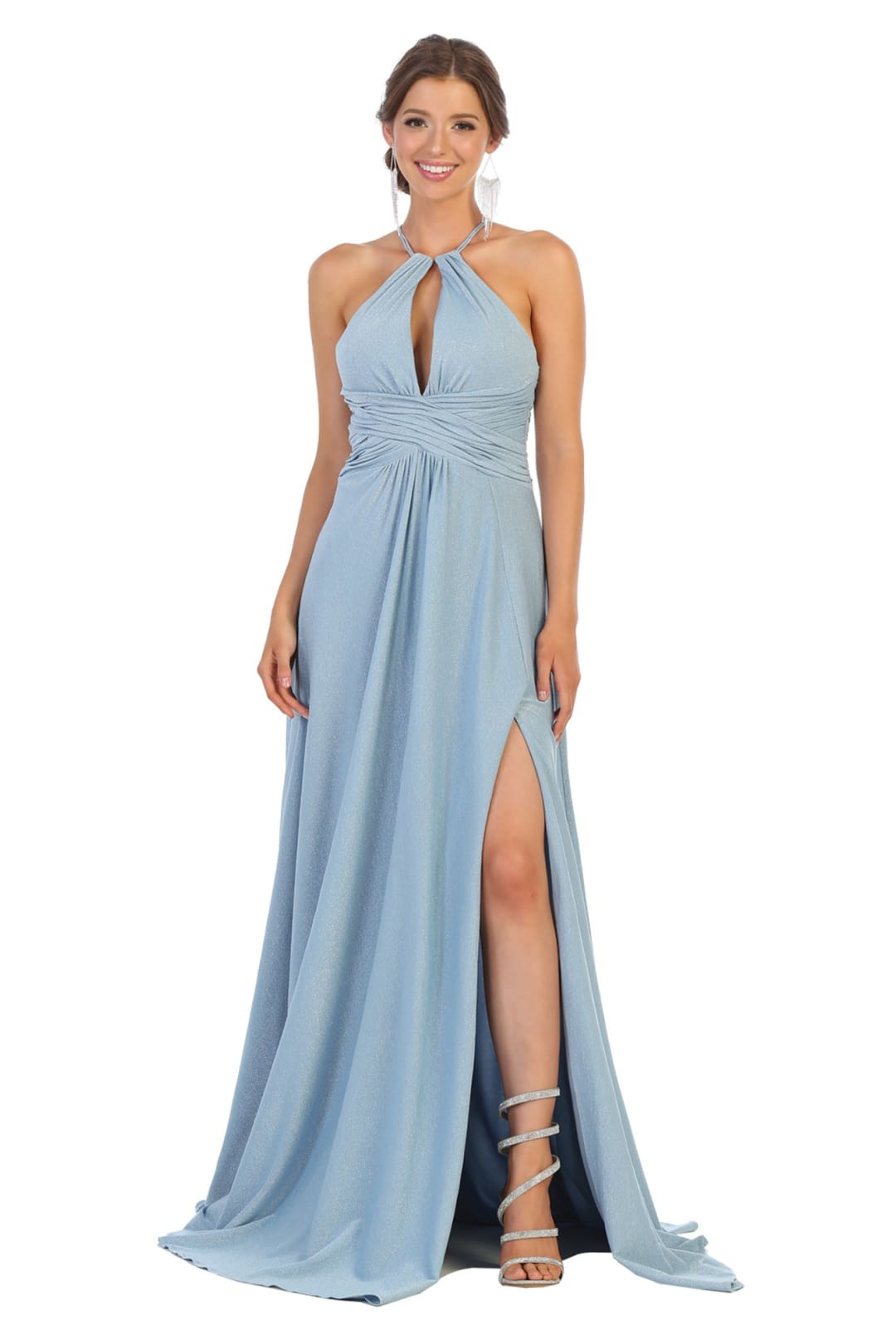 Maxi Dresses For Prom - DUSTY BLUE / 2