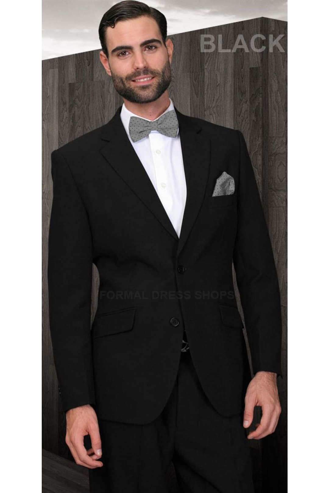 Mens 2 Piece Solid Black Suit - US36S/W30 / EU46S/W40