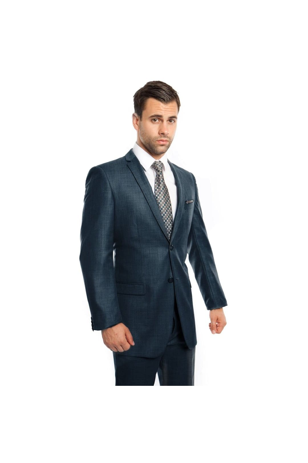 Mens Two Piece Ultra Slim Fit Sharkskin Suit - Mid Navy - 01 / US34S/W28 / EU44S/W38