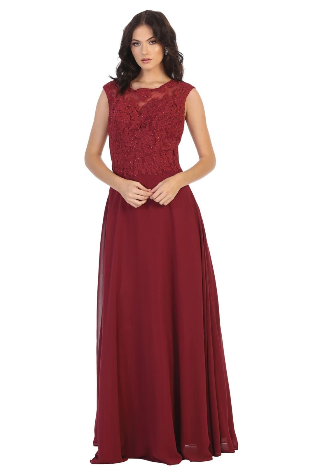 Modern Mother of The Bride Formal Gown And Plus Size - BURGUNDY / 4
