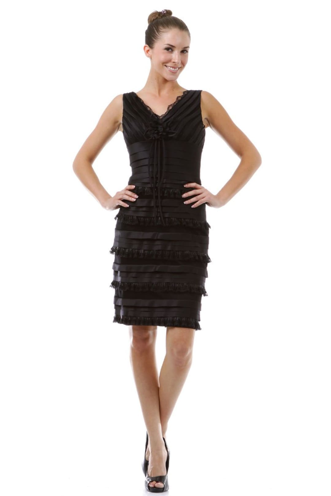 Modest short Evening Dress - Black / 4