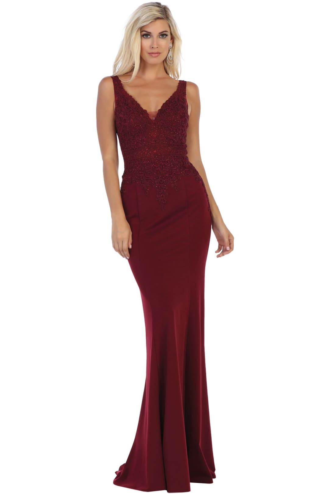 Modest V-Neck Evening Gown - Burgundy / 4