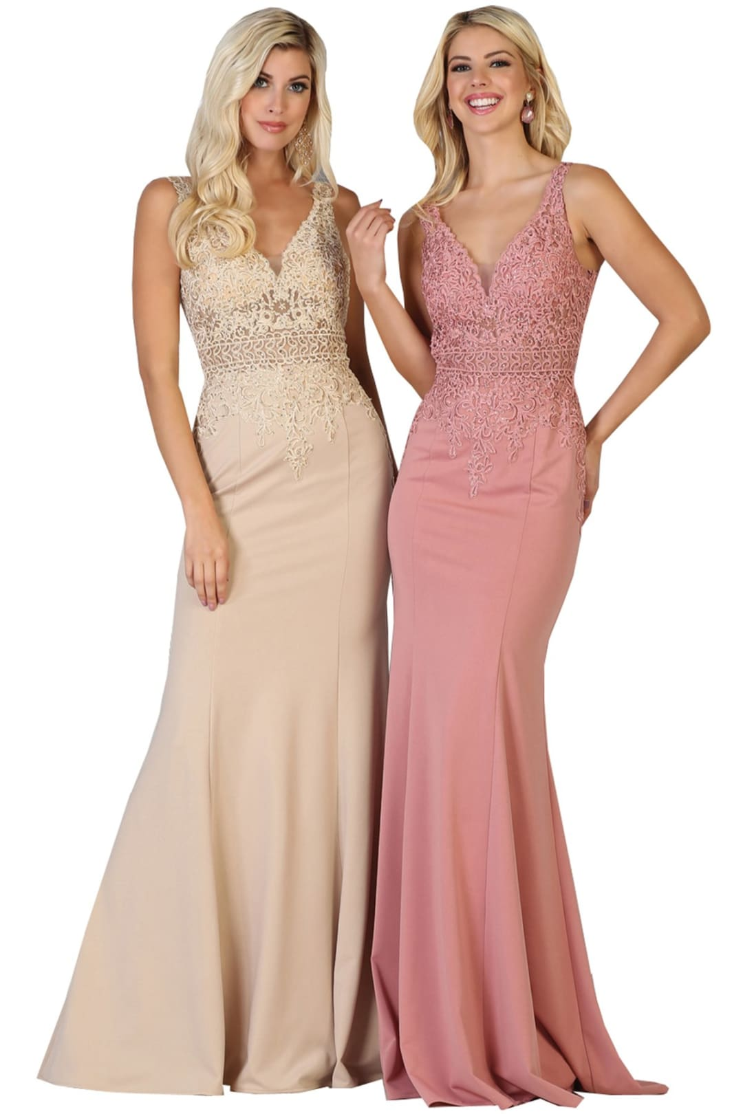 Modest V-Neck Evening Gown - Champagne / 4