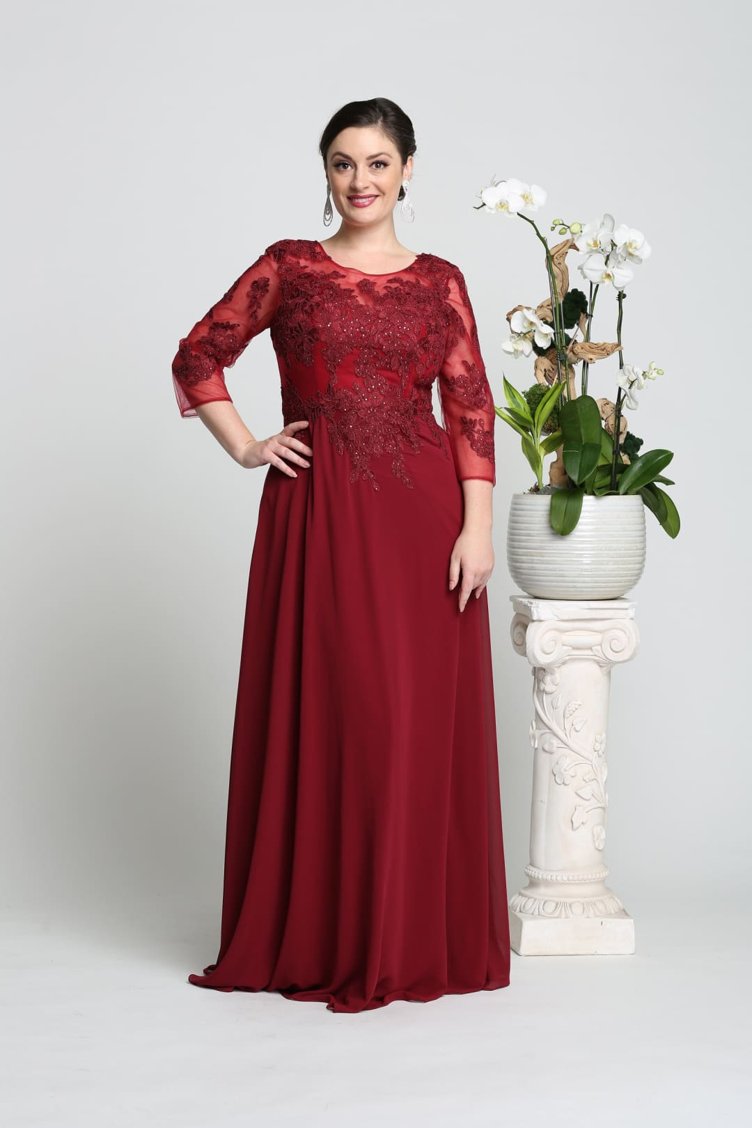 Mother of the Bride Embroidered Gown - Burgundy / M